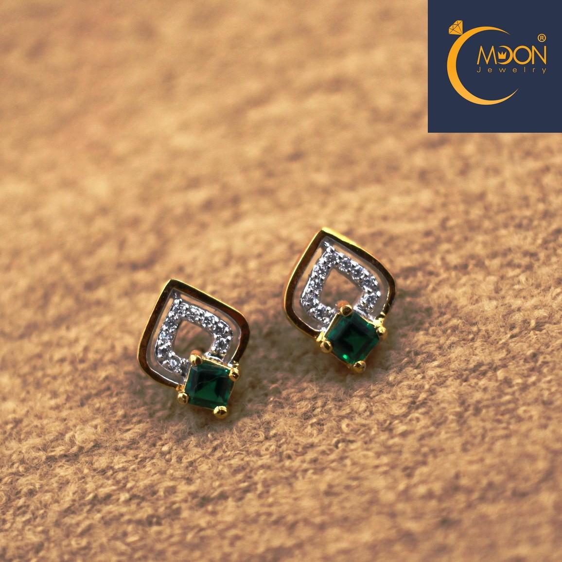 Bông tai đính đá Emerald (B0001)