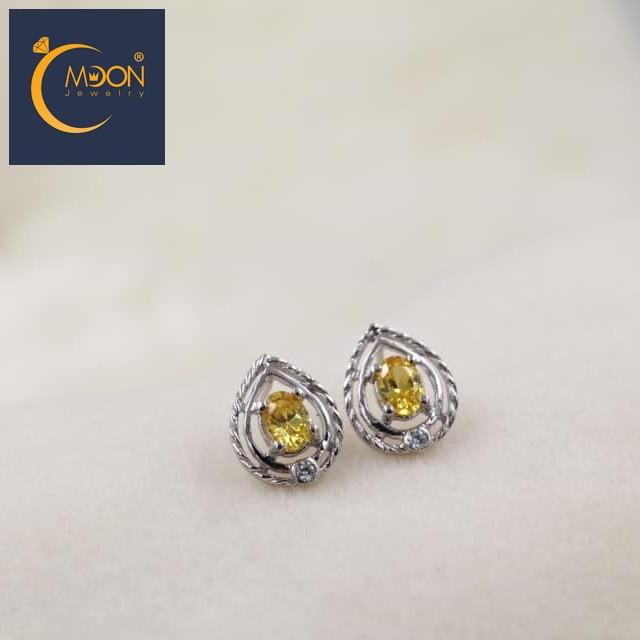Bông tai cz vàng citrine (B0033)
