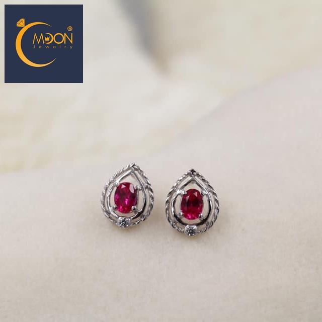 Bông tai cz đỏ ruby (B0030)