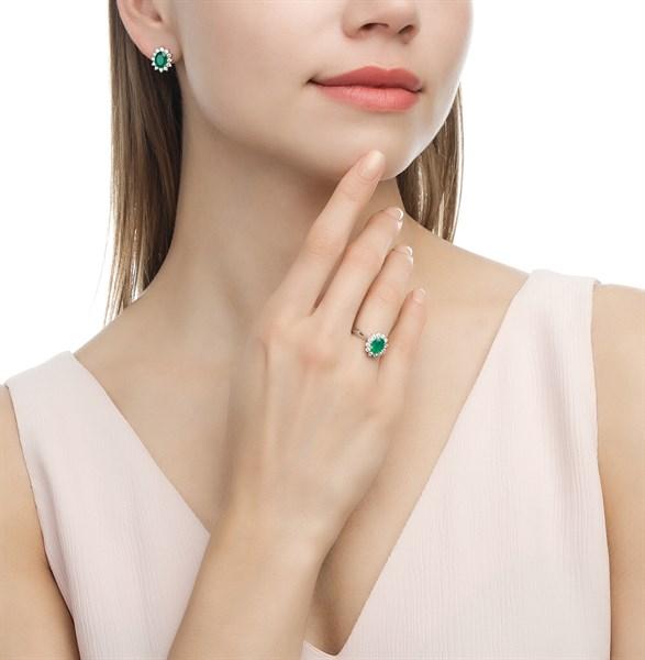 Nhẫn đính đá agate green imitation (N0229)